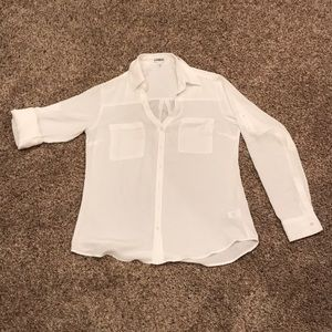 Express White Blouse Long-sleeve or Button to 3/4